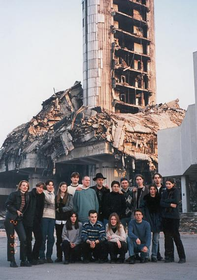 <p>Vlado with the group of young Bosnian refugee band Vali, in post-war Sarajevo, September 1997</p>