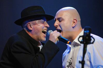 <p>Boštjan Gombač (Katalena) and Vlado, Cankarjev dom, February 2006<br>photo: Domen Groegl</p>