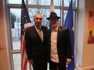<p>Promotion of Vlado's book of poetry Pojezije at Slovenian Embassy in Washington DC. With friend, Mr. Žarko Sukić, former chef of Tito.</p><p> </p>