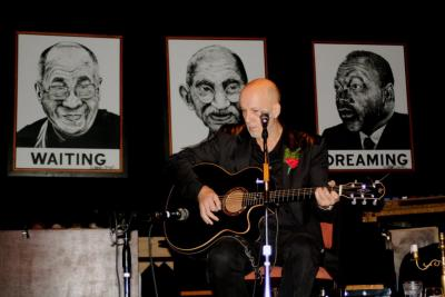 <p>Performing at Busboys and Poets, Washington DC, 2010</p><p>photo: Bojan Kavas</p>